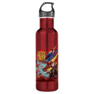 Garrafa De Aço Inoxidável Superman da liga de justiça |, flash, & crachá de