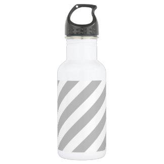 Garrafa De Aço Inoxidável Teste padrão diagonal do cinza e o branco das