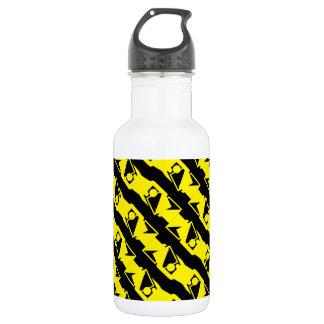 Garrafa De Aço Inoxidável Teste padrão moderno amarelo preto & brilhante