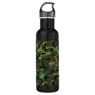 Garrafa De Aço Inoxidável Teste padrão verde de Camo Brown da camuflagem