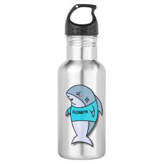 Garrafa De Aço Inoxidável Tubarão de sorriso bonito na camisa legal