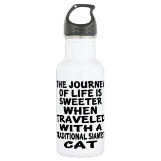 Garrafa De Aço Inoxidável Viajado com o gato Siamese tradicional