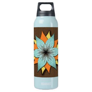 Garrafa de água do design da flor do verde azul de