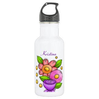 Garrafa de água encantada da flor do Doodle da