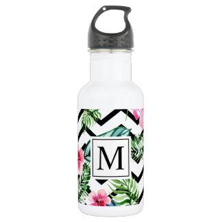 Garrafa de água floral tropical do monograma | do