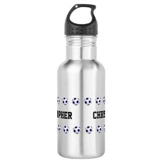 Garrafa de água, personalizada, futebol, aço