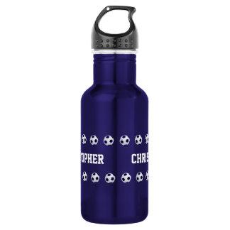 Garrafa de água, personalizada, futebol, azul