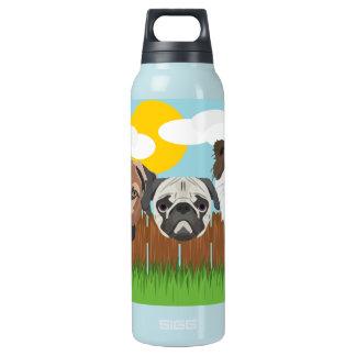 Garrafa De Água Térmica Cães afortunados da ilustração em uma cerca de