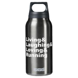 Garrafa De Água Térmica Living&Laughing&Loving&RUNNING (branco)