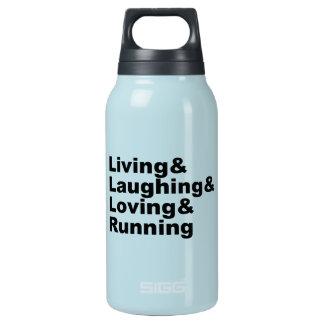 Garrafa De Água Térmica Living&Laughing&Loving&RUNNING (preto)