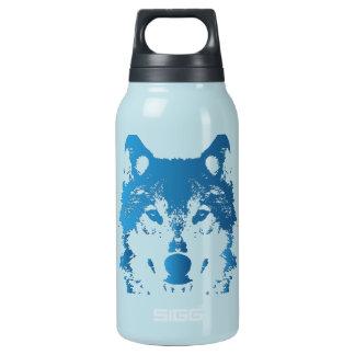 Garrafa De Água Térmica Lobo do azul de gelo da ilustração