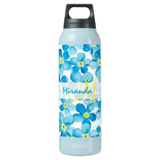 Garrafa De Água Térmica O azul vibrante da aguarela esquece-me não nome