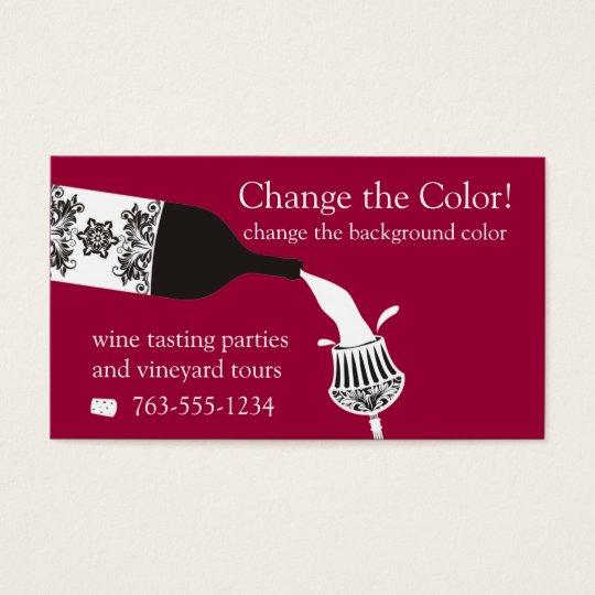 garrafa de vinho de derramamento decorativa de cartão de visitas