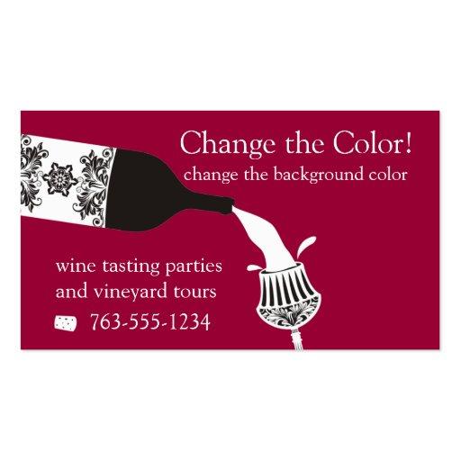 garrafa de vinho de derramamento decorativa de cri modelos cartao de visita