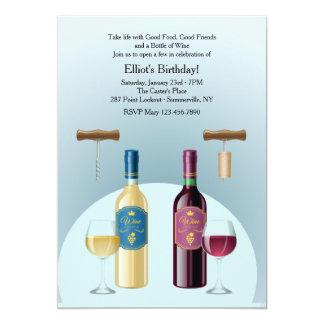 Garrafa do convite do vinho vermelho e branco