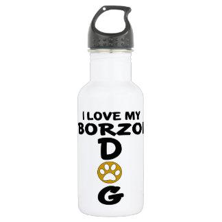 Garrafa Eu amo meu design do cão do Borzoi