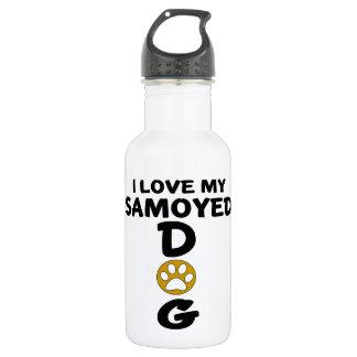 Garrafa Eu amo meu design do cão do Samoyed