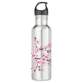 Garrafa Flores de cerejeira cor-de-rosa florais