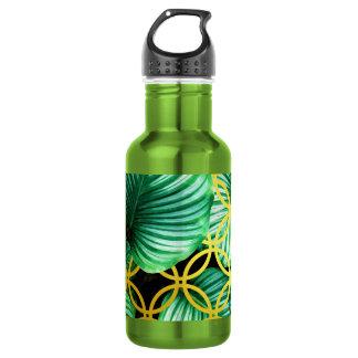 Garrafa Ilustração moderna tropical geométrica das folhas