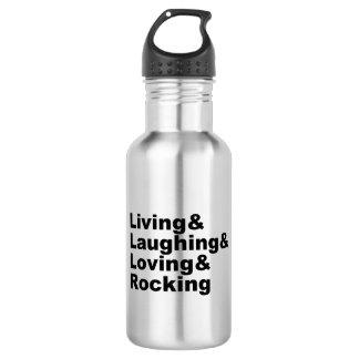 Garrafa Living&Laughing&Loving&ROCKING (preto)