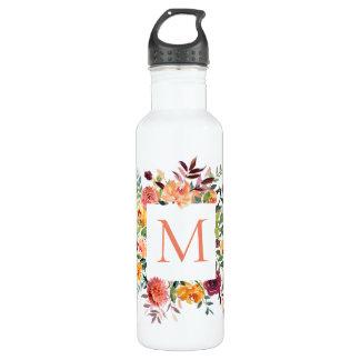 Garrafa Monograma floral da aguarela moderna