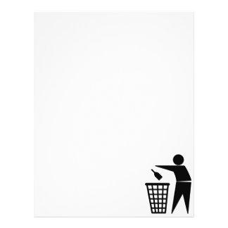 Garrafa no símbolo do balde do lixo panfleto