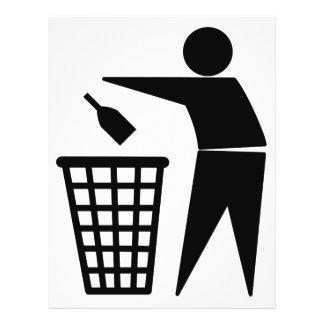 Garrafa no símbolo do balde do lixo panfleto coloridos