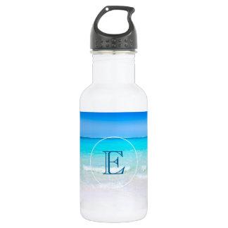 Garrafa Praia tropical com um monograma do mar de turquesa