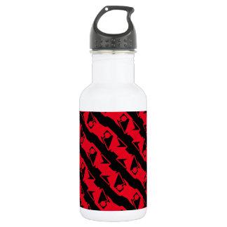 Garrafa Teste padrão moderno vermelho preto & brilhante