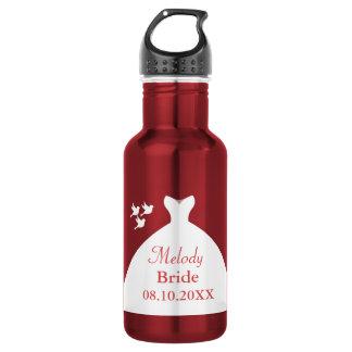 Garrafa Vestido de casamento encantador vermelho e branco