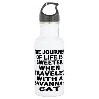 Garrafa Viajado com gato do savana