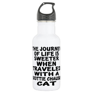 Garrafa Viajado com o gato do chausie do Scottie