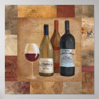 Garrafas de vinho do vintage e vidro de vinho pôster