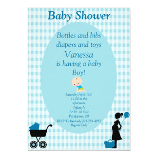 Garrafas e fraldas dos babadores e bebé dos convite 12.7 x 17.78cm