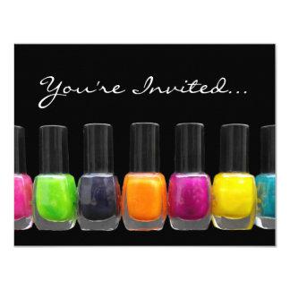 Garrafas polonesas coloridas, partido do Manicure Convite 10.79 X 13.97cm
