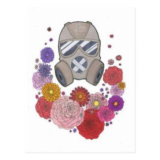 Gasmask&flowers Cartão Postal