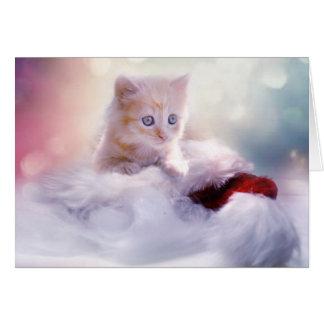 Gatinho ao cartão de Natal do salvamento