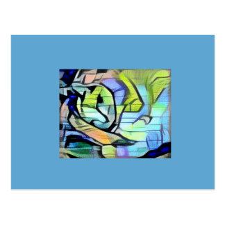 gatinho azul/verde do sapato de neve dos grafites cartão postal