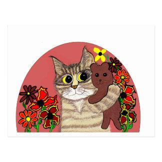 gatinho bonito dos desenhos animados que guardara cartão postal