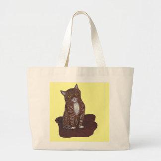Gatinho bonito e assustador bolsa para compras