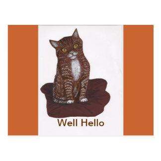 Gatinho bonito e assustador cartão postal