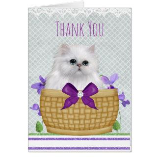 Gatinho bonito em cartões de agradecimentos da