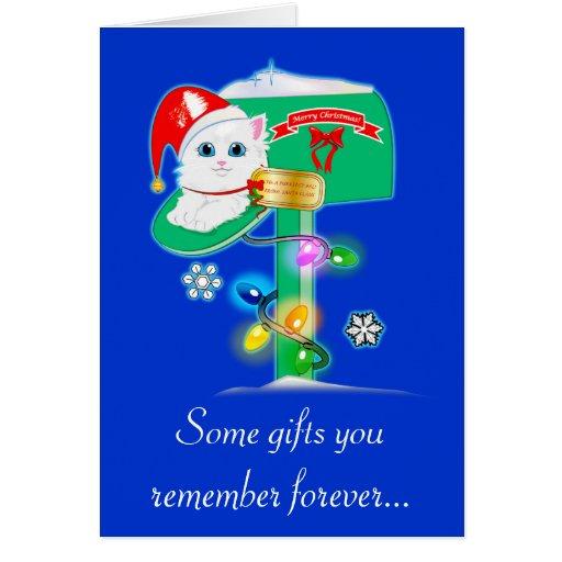 Gatinho da surpresa do Natal do professor no azul  Cartão