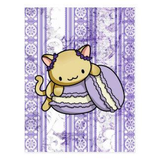 Gatinho de Macaron Cartão Postal