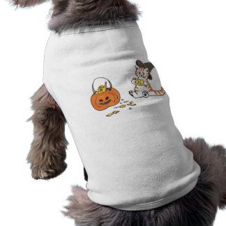gatinho do Dia das Bruxas Camisa Sem Mangas Para Cachorro