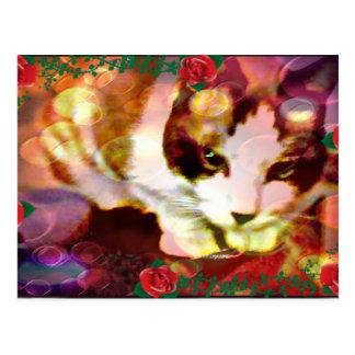 gatinho do sapato de neve nas rosas vermelhas cartão postal