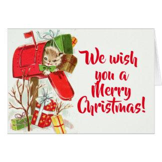Gatinho do vintage em um Natal da caixa postal