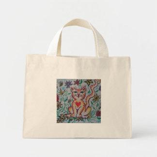 Gatinho dos desenhos animados sacola tote mini