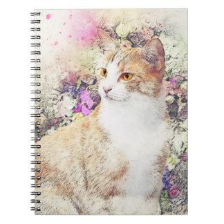 Gatinho e flores caderno