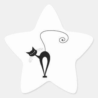 Gatinho irrisório preto 3 adesivo estrela